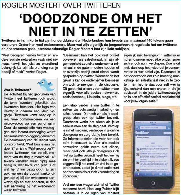 Haarlems Dagblad, rubriek Goede zaken - twitteren