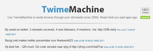 Oude tweets teruglezen via TwimeMachine