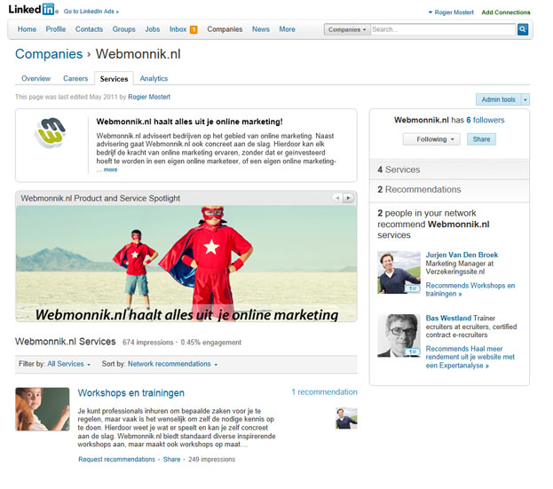 LinkedIn bedrijfspagina van Webmonnik.nl