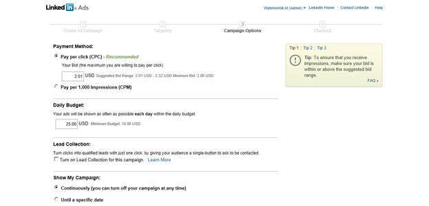 Betalingsoptie LinkedIn advertenties