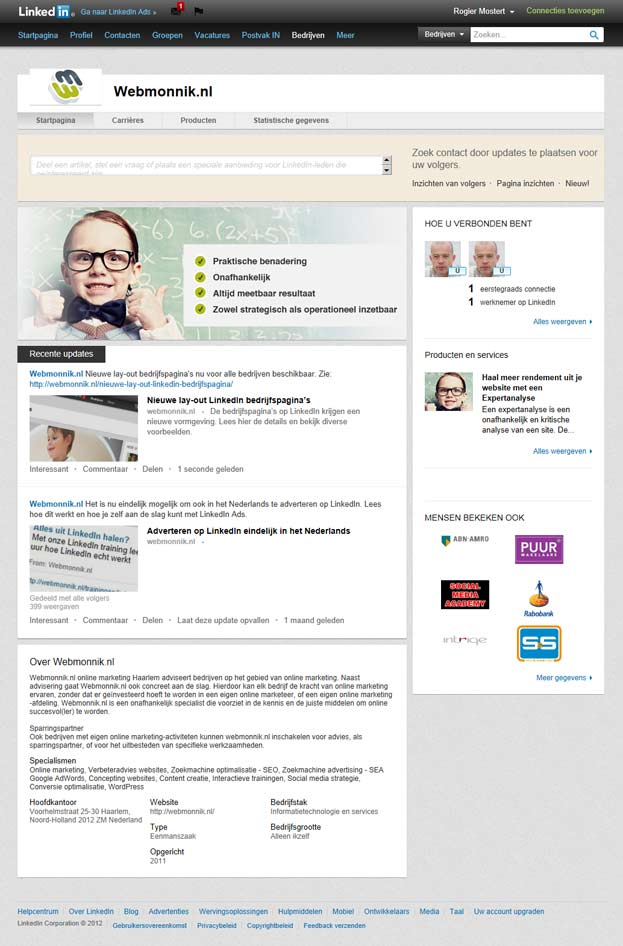 Nieuwe lay-out LinkedIn bedrijfspagina's