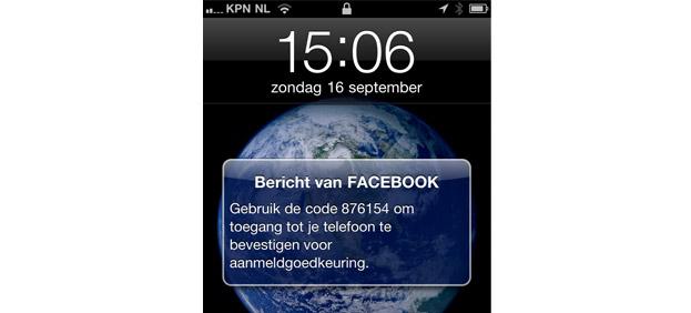 facebook stuurt SMS met unieke code