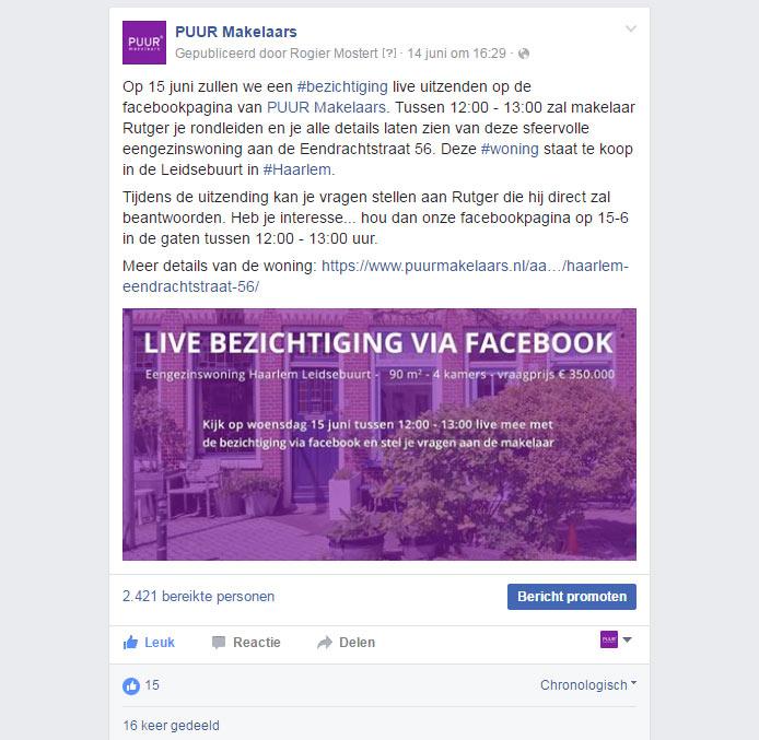 Promotie facebook live video