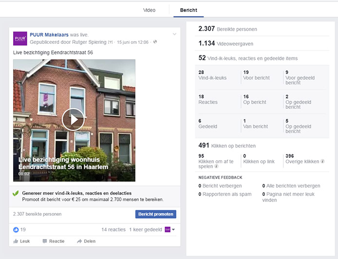 Statistieken Facebook Live Video - Bericht
