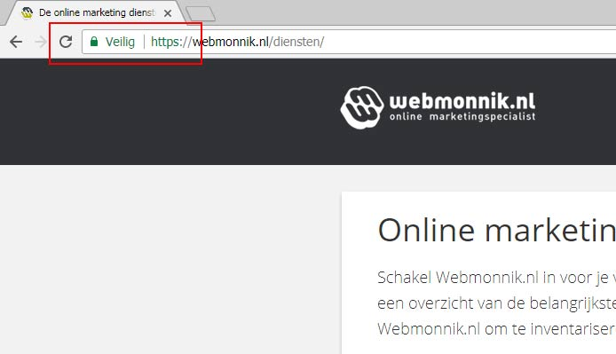 Veilig melding Google Chrome