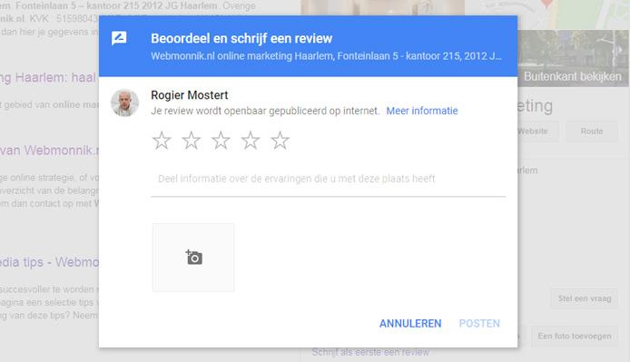 Een review plaatsen op Google Maps