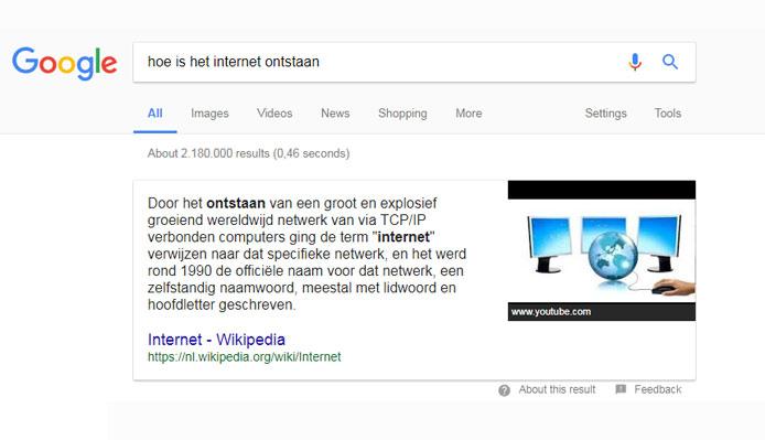Een answerbox in de zoekresultaten van Google