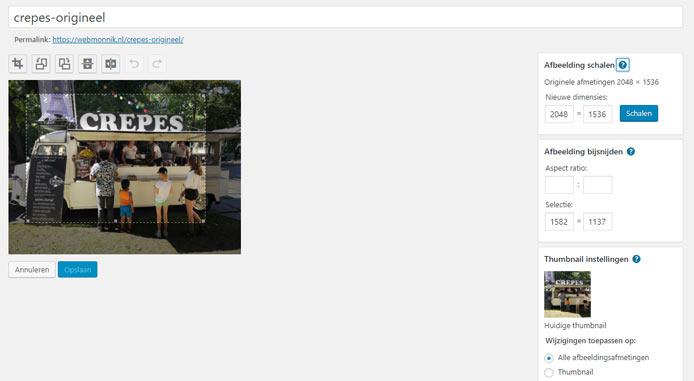 Afbeelding uitsnijden in WordPress