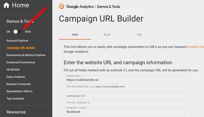 Campaign url builder - switch